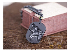 Black Obsidian Wolf Head Necklace - WikiWii