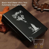 Black Wolf Metal Cigarette Case- Automatic Cigarette Holder