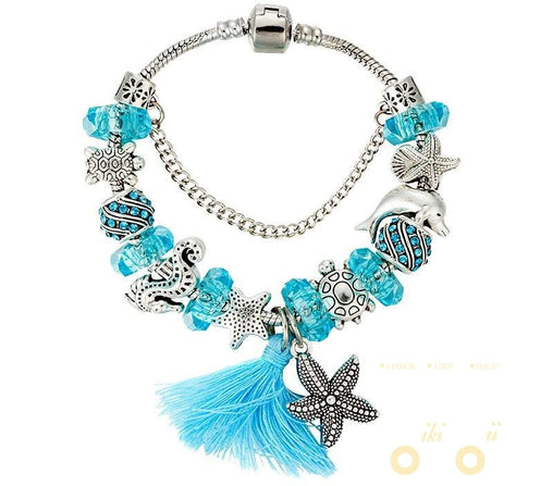 Blue Beads Bracelet  Starfish / Sea Turtle / Dolphin / Sea Horse - WikiWii