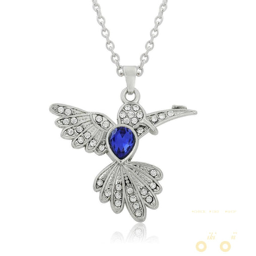 Blue Rhinestone Hummingbird Necklace - WikiWii