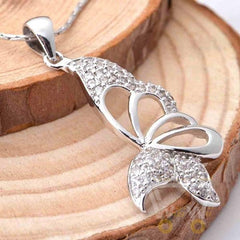 Butterfly Crystal Necklace Silver Plated - WikiWii