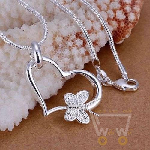 Butterfly Necklace Heart Shape - WikiWii