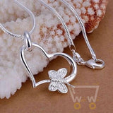 Butterfly Necklace Heart Shape