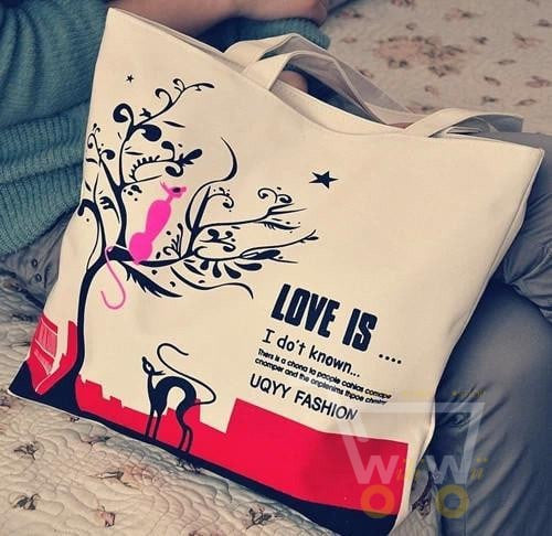 Cartoon Cat Canvas Women Casual Shoulder Bags ( Large Capacity Shopping Bag ) - WikiWii