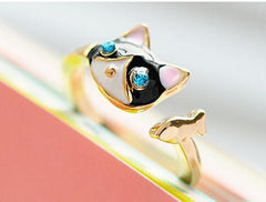 Cat and Fish Asymmetry Alloy Rings - WikiWii