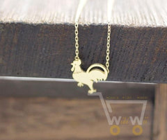 Chicken Necklace Silver Gold Plated - WikiWii