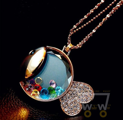 color crystal ball inlay gold plated fish chain necklace - WikiWii