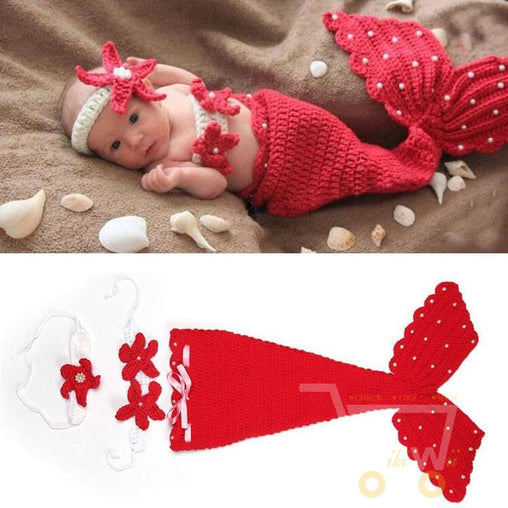 Crochet Knit Newborn baby Mermaid Costume - WikiWii