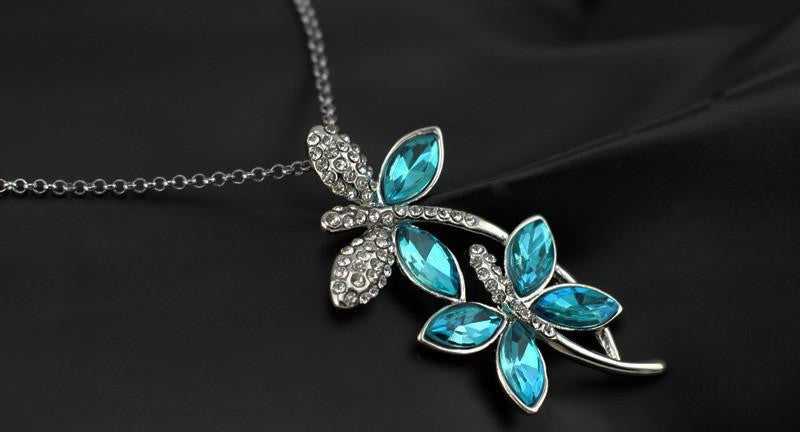 Crystal Dragonfly Necklace - WikiWii