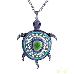 Crystals Mini Turtle Necklace Long Chain - WikiWii