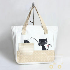 cute cat fishing canvas tote bag - WikiWii