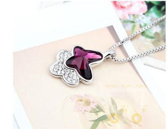 cute crystal butterfly necklace - WikiWii