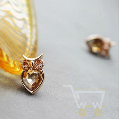Cute Crystal Owl Necklace , Earrings 18K - WikiWii