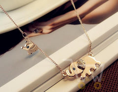 Cute Elephant Family Crystal Chain Necklace - WikiWii
