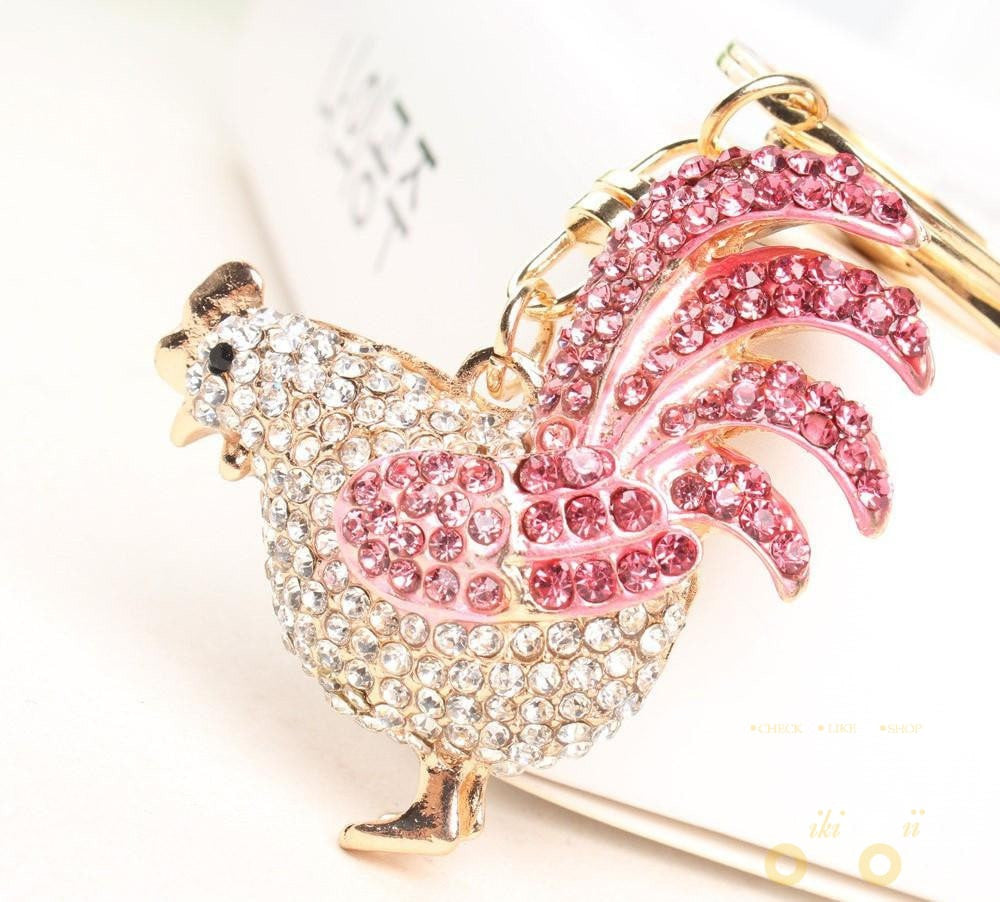 Cute Rhinestone Crystal Key Chain Chicken - WikiWii