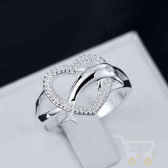 Cute Silver Plated Heart Dolphin - WikiWii