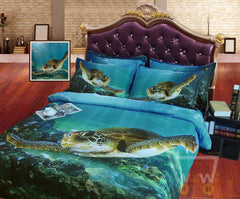 Digital Print HD Modal sheets 3D Sea Turtle cover set (Without Comforter) - WikiWii