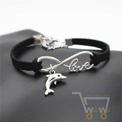 Dolphin Infinity Leather Bracelet - WikiWii