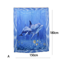 Dolphin Pattern Waterproof Curtain - WikiWii