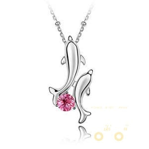 Dolphin pendant crystal necklaces white gold plated Romantic necklace - WikiWii
