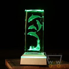 Dolphin Sea turtle Crystal tower With multi color light base - WikiWii