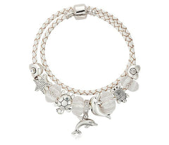 Dolphins Charm Bracelet White leather - WikiWii