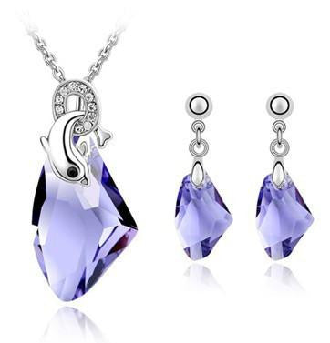 Dolphins Necklaces and Drop Earrings Jewelry set made with Swarovski Elements (4-colors) - WikiWii