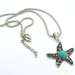 Five-pointed Turquoise Starfish Necklace - WikiWii