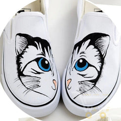 Flat Shoe Lovely Cartoon Cat Hand Painted - WikiWii