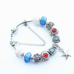 Glass Crystal Beads With Starfish Bracelet - WikiWii