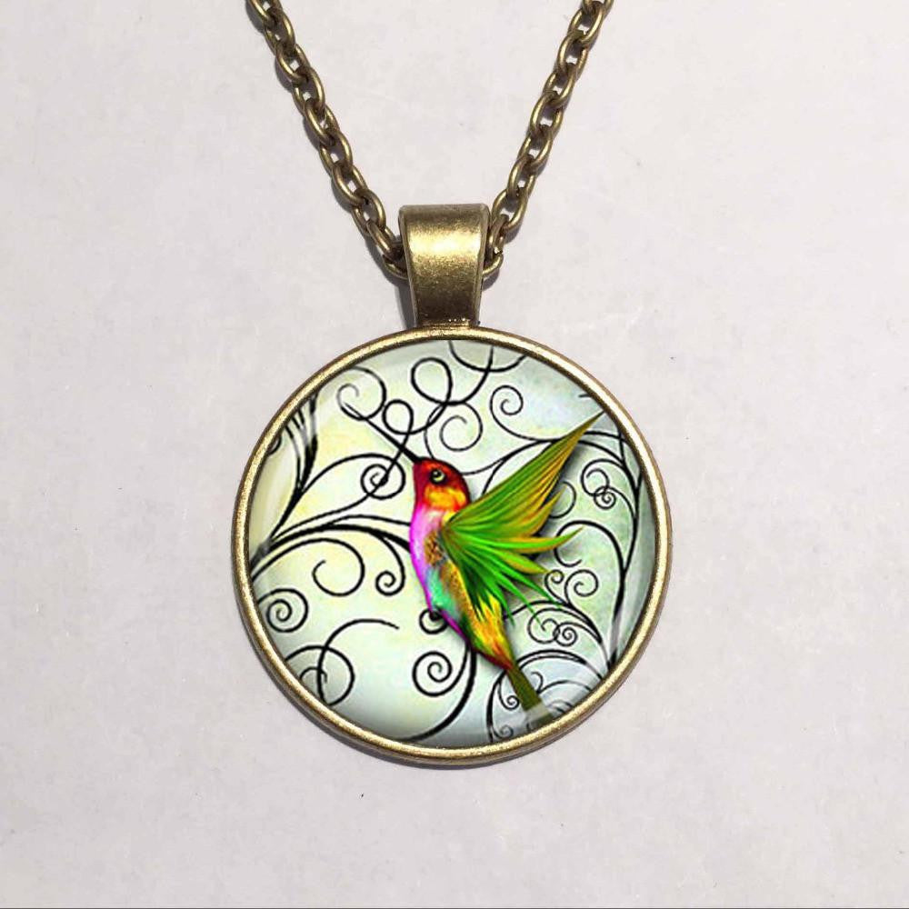 Glass Dome Hummingbird Necklace - WikiWii