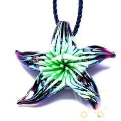 Glass Flower Inside Starfish Necklace - WikiWii