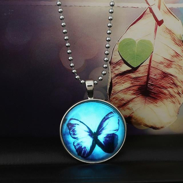 Glow in the dark Butterfly Glass Necklace - WikiWii