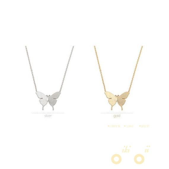 Gold and silver fashion cute butterfly pendant necklaces gold and silver fashion cute butterfly pendant necklaces wikiwii aloadofball Images