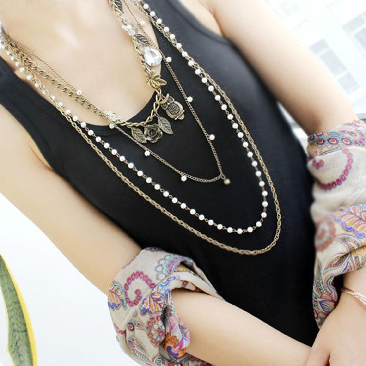 Gold Color Leaf Owl Imitation Pearl Multi-layer Necklaces Long Necklace - WikiWii