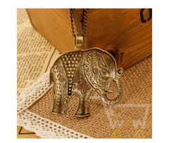 Gold Long Chain Rhinestone Elephant Necklace - WikiWii