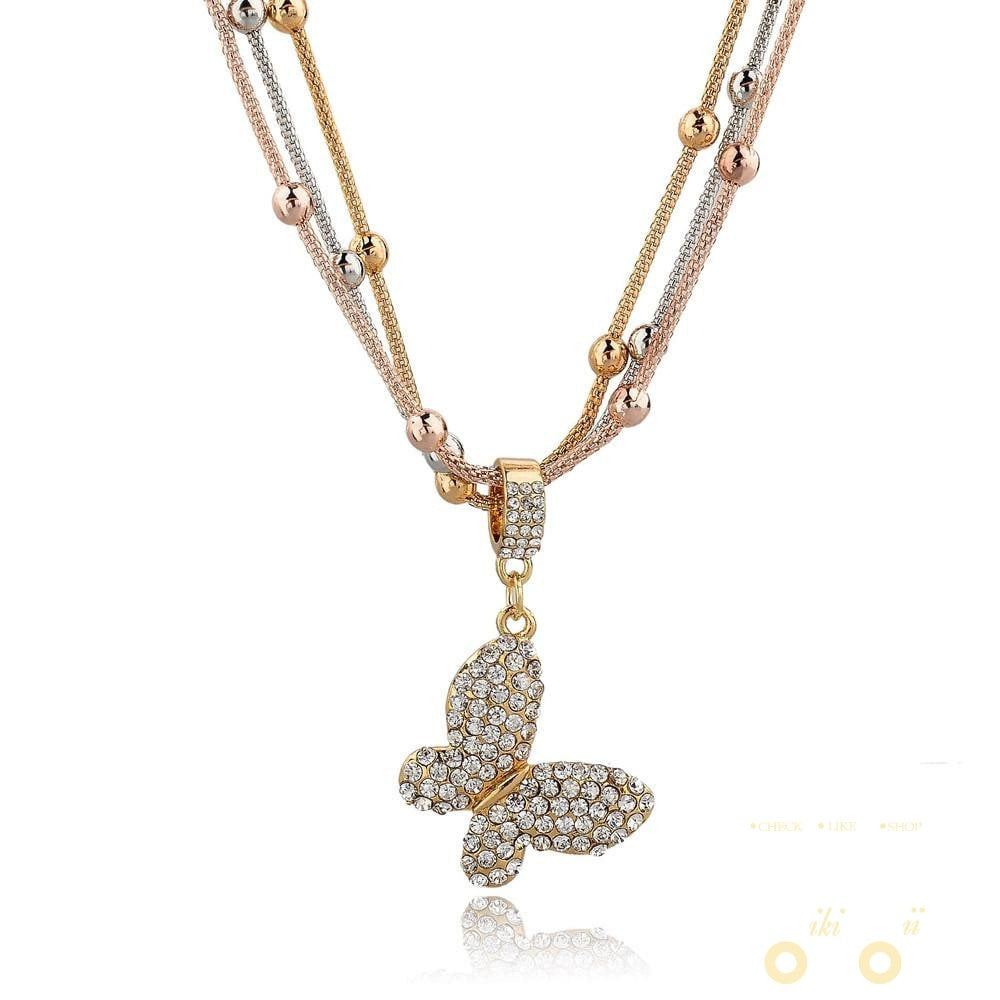 Gold Plated Butterfly  Necklace - WikiWii