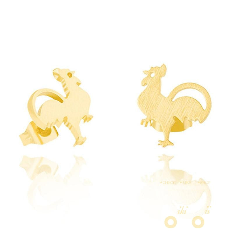 Gold Plated Chicken Earrings - WikiWii