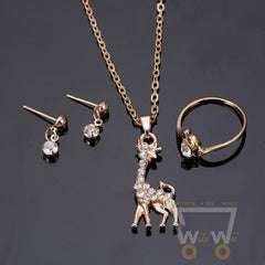 Gold Plated Giraffe Necklaces Rings Earrings Jewelry Set - WikiWii