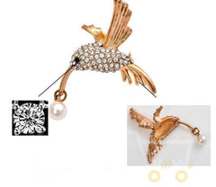 Gold Plated Hummingbird Brooch - WikiWii