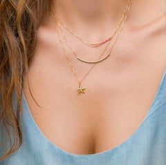 gold plated multi layers starfish necklace - WikiWii