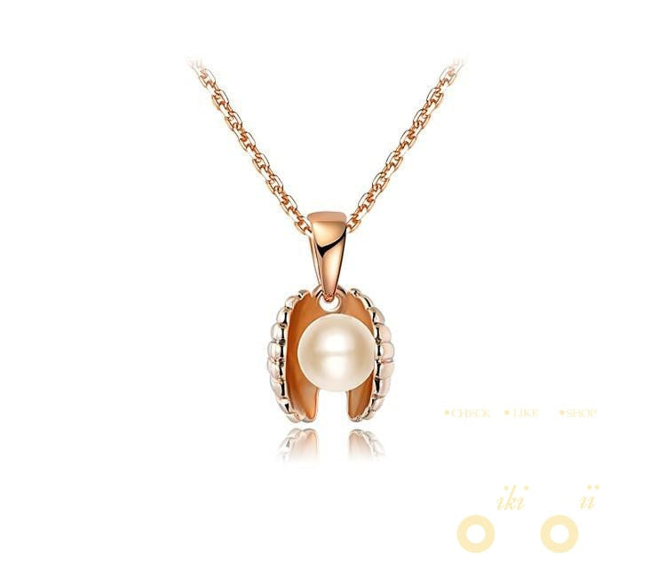 Gold Plated Simulated Pearl Sea Shell Necklaces - WikiWii