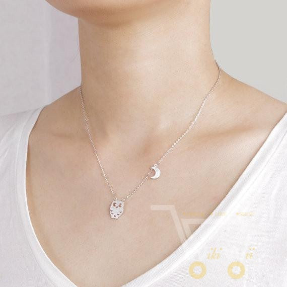 Gold / Silver Plted Romantic Half Moon Owl Necklace - WikiWii