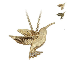 Gold/Bronze 3D Hummingbird Necklace - WikiWii