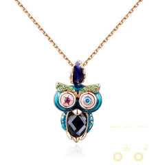 Golden Rose Color Owl Necklace - WikiWii