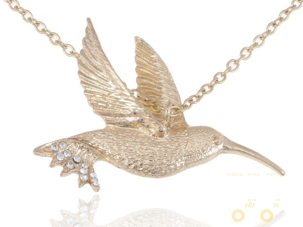 Golden Tone  Hummingbird Necklace - WikiWii
