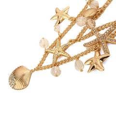 Gold/Silver Plated Multilayer Starfish Shell Necklace - WikiWii