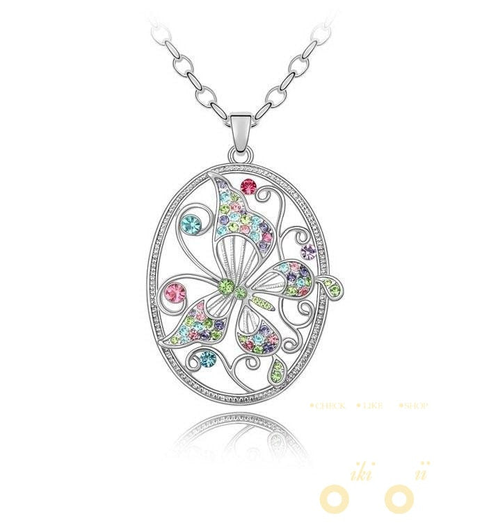 Graceful Butterfly Crystal Necklace - WikiWii