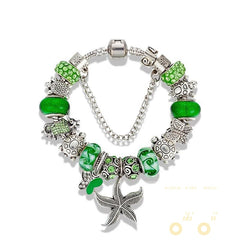 Green Beads  Starfish /Butterfly /Turtle  Charm Bracelet - WikiWii