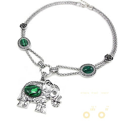 Green Stone Elephant Necklaces - WikiWii